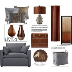 Brown and Gray by terry-tlc on Polyvore featuring interior, interiors, interior design, home, home decor, interior decorating, Volo Design, Universal Lighting and Decor, CB2 and Aquanova