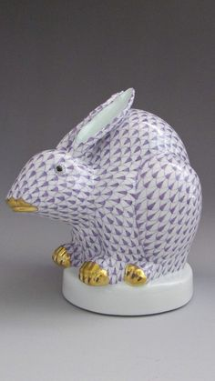 Large Herend Porcelain Crouching Sitting Bunny Rabbit 5337 Lavender Purple #Herend