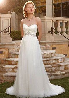 Chapel Train Sleeveless Waist Tulle A-line Sweetheart Wedding Dress picture 1