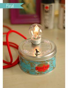 DIY : petite lampe à partir d'une boite de thé :) #kiri #cute #diy #bricolage #lampe #enfant