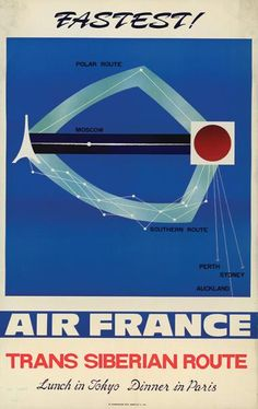 Air France - Trans Siberian Route - Lunch in Tokyo, Dinner in Paris - 1970's -