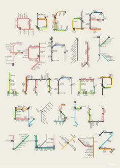 London-based designer and illustrator Tim Fishlock posterized Harry Beck's famous alphabet made of sections and lines from the London Underground map. David Sacks book offers a range of typographic styles to look at Alphabet A, Alphabet Design, Design Letters, Typography Letters, Graphic Design Typography, Typography Logo, Type Design, Web Design, Mind Map Design