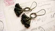 iridescent black flower cluster dangle earrings by VerdigrisGifts, $21.00