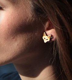 Wood Fox Stud Earrings | Birch wood fox head earrings on surgical steel posts. 15mm tall. | Earrings
