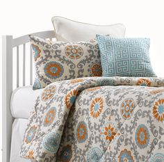 Mandarin Damask Dorm Comforter - Add some cheer to your dorm room with this beautiful Aqua and Mandarin Orange comforter in a modern damask pattern. Monogram the coordinating euro sham for a truly stunning look! Shop now at www.amdorm.com