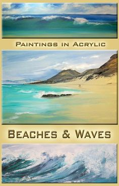 paint beaches and waves Acrylic Painting For Beginners, Acrylic Painting Tutorials, Painting Videos, Painting Lessons, Painting Techniques, Acrylic Tutorials, Art Tutorials, Sea Murals, Seaside Art