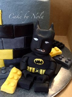 Lego Batman cake, buttercream icing with fondant accents and decorations.This was the first time I tried making a 3-d figure to go with a cake. Shout out @zoesfancycakes for the awesome tutorial! #idocakes #cakestagram #cakedecoratorsofinstagram #cakedecorating #fondant #fondantdecoration #lego #batman #legobatman #legobatmanbirthday