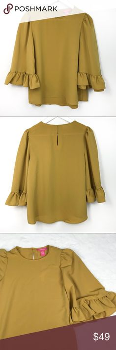 Catherine Malandrino Mustard Bell Sleeves Blouse Brand New!  Super Chick blouse by Catherine Malandrino  Bell Sleeves Goes great with Jeans! Catherine Malandrino Tops Blouses