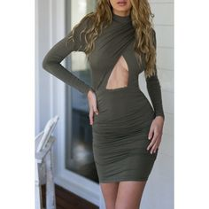 Fashion Cut-out Front Body-con Dress ($16) ❤ liked on Polyvore featuring dresses, grey, long sleeve body con dress, grey bodycon dress, long-sleeve cut-out dresses, bodycon dress and cutout bodycon dresses