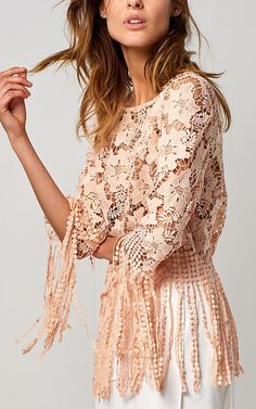 lace fringe top 000377-peachpink | 1