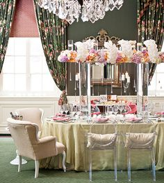 tall arrangement. makes it easy to talk across the table!