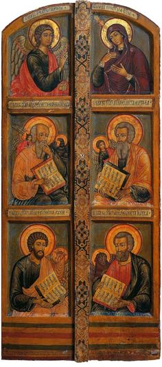 icon -Angel Gabriel, Mary holding baby Jesus, and the 4 Gospel writers Religious Images, Religious Icons, Religious Art, Byzantine Icons, Byzantine Art, Religion, Archangel Gabriel, Russian Icons, Art Icon