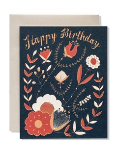 "Happy Birthday Floral Folk Card | Sycamore Street Press A folksy birthday card in a fresh color palette for the likes of you and yours.   — A2 size (4.25"" x 5.5"" when folded). Printed locally with sustainable materials. Hand drawn illustration and lettering by Eva Jorgensen. Made in the USA."