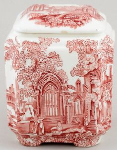 Mason's Ironstone Fountains pattern pink/red transferware tea caddy .... toile like pattern depicts visitors viewing ruins of abbey or castle in pastoral landscape, c. 1920s, ceramic, UK