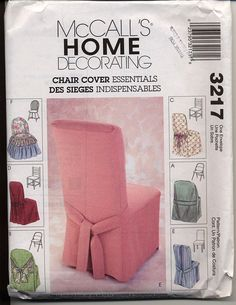 McCalls 3217 Chair Covers Slip Covers Pattern for Folding - Windsor - Ladder Back and Parsons Chairs Home Decorating Sewing Pattern UNCUT Mccalls Patterns, Vintage Sewing Patterns, Sewing Crafts, Sewing Projects, Wayfair Living Room Chairs, Dining Room, Adirondack Chairs For Sale, Old Chairs, Parsons Chairs