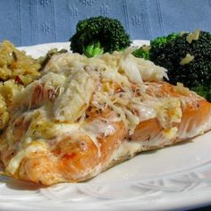 Baked Salmon Topped With Crab Recipe. Recipe calls for immitation crab but I would use the real stuff.