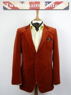 Mens vintage burnt orange velvet evening jacket 40R   Tweedmans Vintage