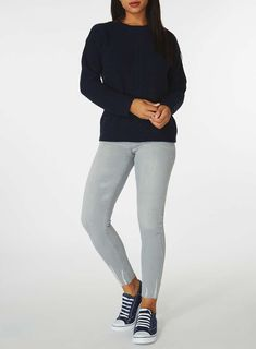 Womens Navy Cable Front Jumper- Blue