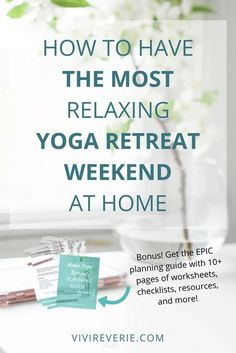 Are you feeling stressed out, exhausted, and in need of a break from your day to day life? Let's plan your perfect home yoga retreat together! In this post you'll find the complete guide to a KICK-ASS home yoga retreat. Want to know how to plan a yoga retreat at home? Read this post to get the best tips for a home yoga retreat. Don't forget to download the EPIC home yoga retreat planning guide full of worksheets, checklists, resources and more!