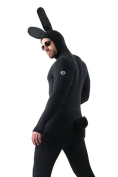 Bunny Onesie for Men .Adult bunny onesie is handmade with knitted cotton in black or grey. One-piece rabbit jumpsuit designed with bendable foam ears and fluffy pom pom tail. | Sold on Differio.com