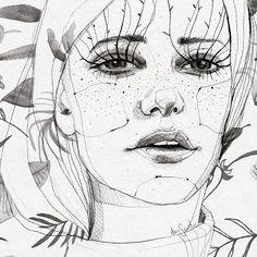 """ más dibujos renovados #arte #art #artwork #draw #drawing #dibujo #dibujoalapiz #watercolor #acuarela #patterndesing #retrato #portrait #hojas #fashionart #fashionillustration #eyes #pecas"
