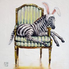 kickin it, bunny style, painting by artist Kimberly Applegate