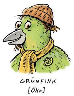 Der Grünfink ist ein echter Öko. NABU Cartoon zur Stunde der Gartenvögel.