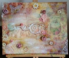 by Joanna Pearce on Etsy Mixed Media Canvas, Mixed Media Art, Spring Has Sprung, Handmade Decorations, Make It Simple, Vintage World Maps, Vintage Fashion, Artist, Painting