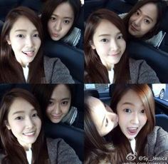 Krystal kisses Jessica's cheek as they show off their sisterly affection   http://www.allkpop.com/article/2013/11/krystal-kisses-jessicas-cheek-as-they-show-off-their-sisterly-affection