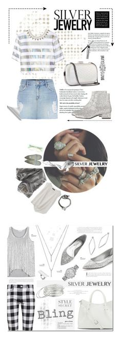 """Winners for Sweet Silver Jewelry"" by polyvore ❤ liked on Polyvore featuring River Island, H&M, Yves Saint Laurent, Jonathan Saunders, GUESS, Bobbi Brown Cosmetics, denim, Silver, yvessaintlaurent and contestentry"