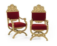 Pair of Baronial-Style Giltwood Armchairs : Lot 176