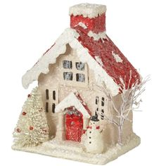 Christmas Village Cardboard House by Nancy Maley for Midwest of Cannon Falls Christmas Paper, Retro Christmas, All Things Christmas, Christmas Home, Christmas Glitter, White Christmas, Christmas Village Houses, Putz Houses, Christmas Villages