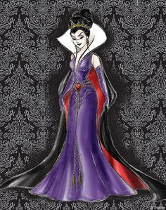 Evil Queen from Disney Villains Designer Collection. My friends and I did a burlesque take on the Disney Villainesses a few years ago, and this design is just… so much cooler than what I came up with. Disney Pixar, Disney E Dreamworks, Heros Disney, Disney Fan Art, Disney Villains, Disney Animation, Disney Style, Disney Love, Walt Disney