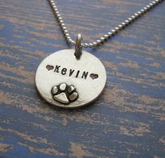 personalized paw print necklace by juliethefish on Etsy