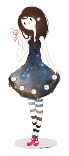 Adventure Time inspired original charatcer | Time Princess by stickyfruit | glalaxy dress, stripey stockings | kind of looks like Marceline dressed up as Alice from Alice in Wonderland