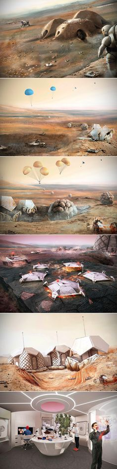 A Britisharchitecture firm unveiled3D-printed homes for astronauts who will be settling the red planet in the next few decades.      Foster + Pa