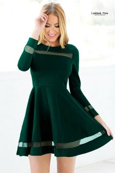 Winter Style // Look more gorgeous on your date this winter with the help of this dark green mesh panel skater dress. You can get yours only here.
