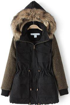 Black Faux Fur Hooded Pockets Slim Coat 40.50