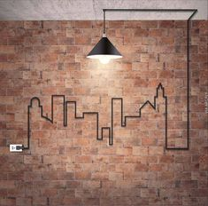 10 Tips How To Build A Lightweight House Decoration Design backstein-tapete-wandgestaltung-industrial-design-industrielampe-kabel-stadt-silhouette-steckdose The Best of inerior design in Deco Design, Wall Design, House Design, Brick Design, Design Design, Loft Design, Urban Design, Vintage Industrial Furniture, Industrial Style