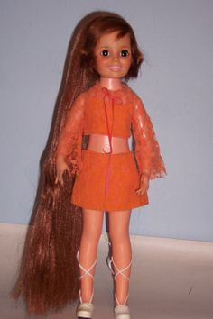 BROWN HAIRED HAIR TO FLOOR IDEAL CRISSY DOLL - CUSTOM PONY TAIL AND OUTFIT #IDEAL #BROWNHAIREDCRISSYDOLL