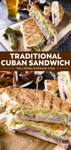 An authentic Cuban sandwich recipe (aka El Cubano) has sliced ham, roasted pork, Swiss cheese, dill pickles, lots of butter and mustard all on crispy bread. via sandwich recipe Authentic Cuban Sandwich Best Sandwich Recipes, Roast Beef Sandwich, Pressed Sandwich, Snack Recipes, Cooking Recipes, Dinner Recipes, Cuban Chicken Sandwich Recipe, Healthy Sandwiches, Sandwich Recipes