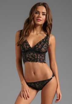 Lonely Black Hearts Full Lace Cup Longline Bra in Black
