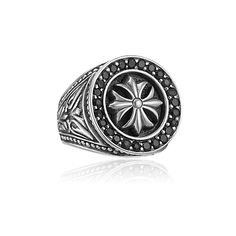 2e1820b79 Mens Faith Collection - Mens Sterling Silver Engraved Round Cross Ring with Black  Sapphire Frame (Product Style: