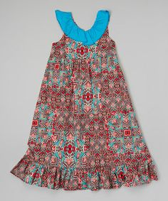 Look what I found on #zulily! Red Tribal Ruffle Maxi Dress - Toddler & Girls #zulilyfinds