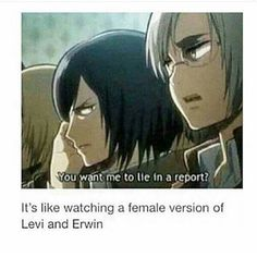 hey look mikasa and rico even have their eyebrows (though erwin's are just slightly wider than rico's)