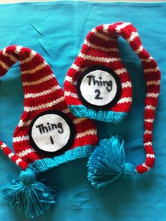 Twin Thing 1 and Thing 2 knit newborn hats @Aimee Hertzog