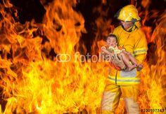 """Laden Sie das lizenzfreie Foto """"firefighter rescued the child from the fire"""" von karnstocks zum günstigen Preis auf Fotolia.com herunter. Stöbern Sie in unserer Bilddatenbank und finden Sie schnell das perfekte Stockfoto für Ihr Marketing-Projekt!"""