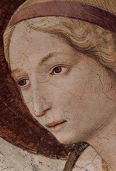 Beato Angelico, Annunciazione del corridoio nord, dettaglio del volto della Vergine, Museo Nazionale di San Marco, Firenze