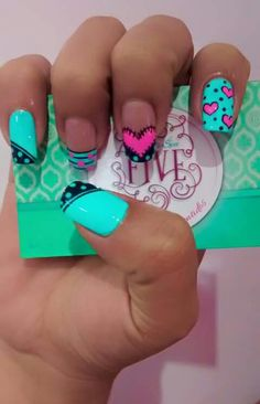 Nails Funky Nails, Crazy Nails, Glam Nails, Love Nails, Beauty Nails, Pretty Nails, Valentine Nail Art, Nail Decorations, Fabulous Nails
