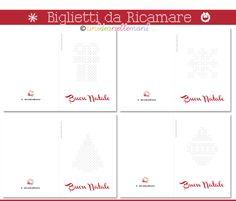 Cerchi degli originali biglietti di Natale da stampare? Ecco 8 gift tags e biglietti di auguri da personalizzare con ago e filo. Con schema.